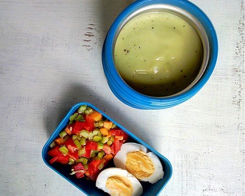 Cold Avocado Soup in teel