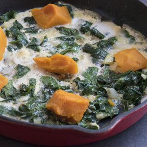 Frittata with spinach and pumpkin
