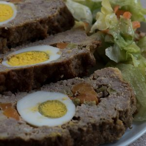 meat loaf with eggs and veggies