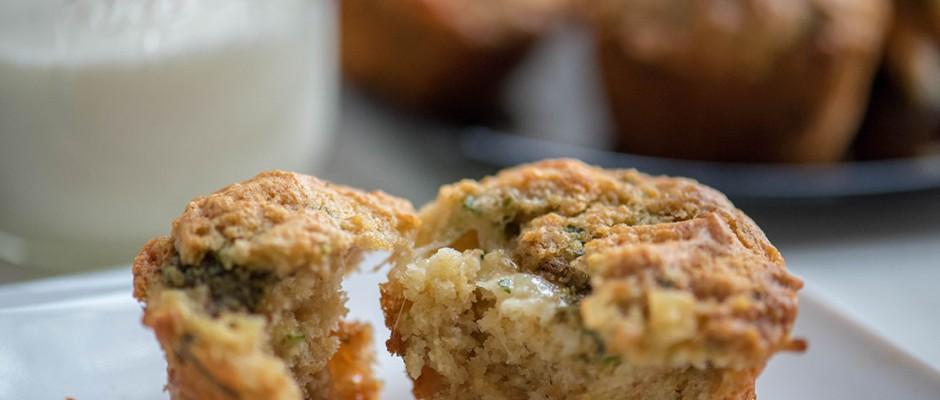 bread muffin with butter, pesto and mozzarella