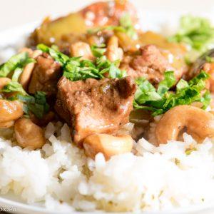 Pork bites in tender sauce and cashew