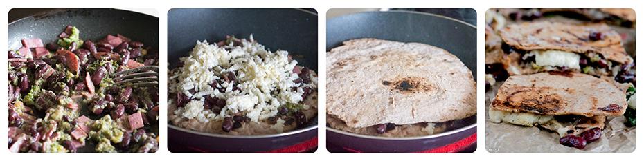 Broccoli and Red Bean Quesadillas