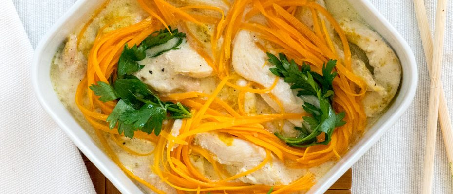 Steamed Creamy Chicken fillets with vegetables